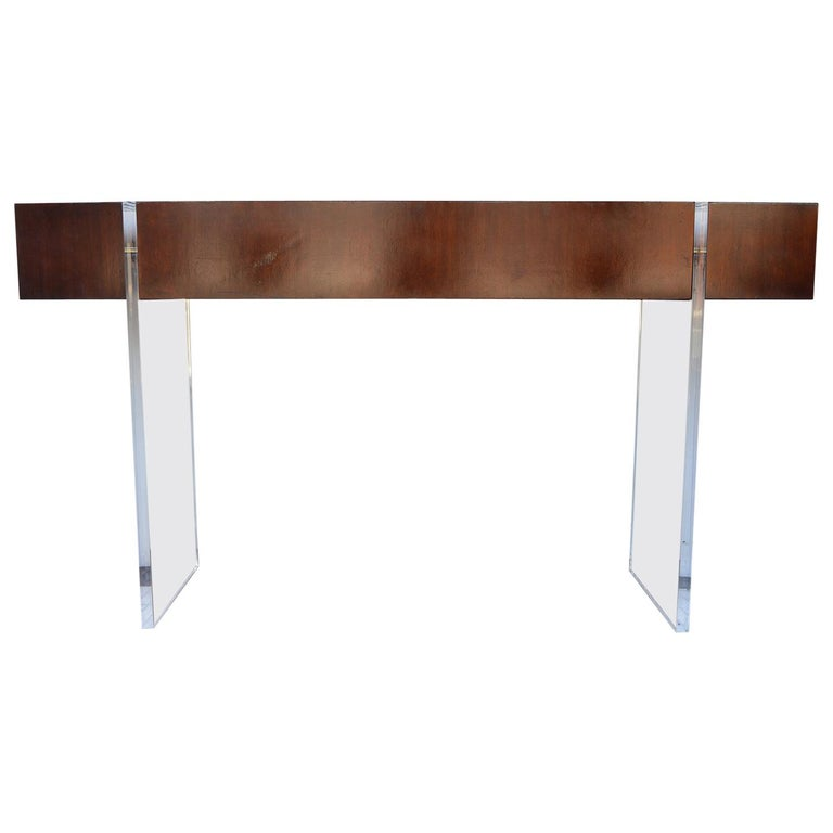 Wood and Lucite Console