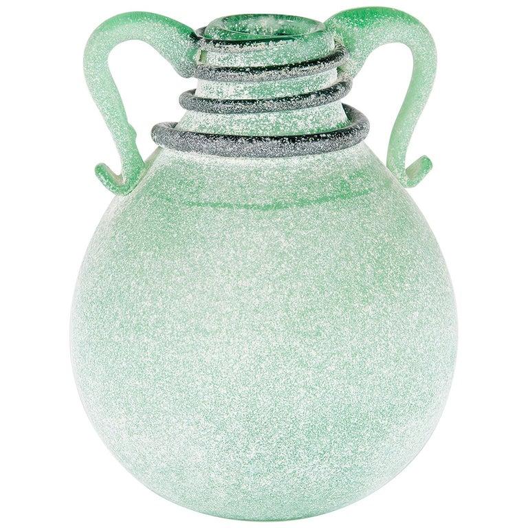 Seguso Vetri d'Arte Murano Glass Green Scavo Vase
