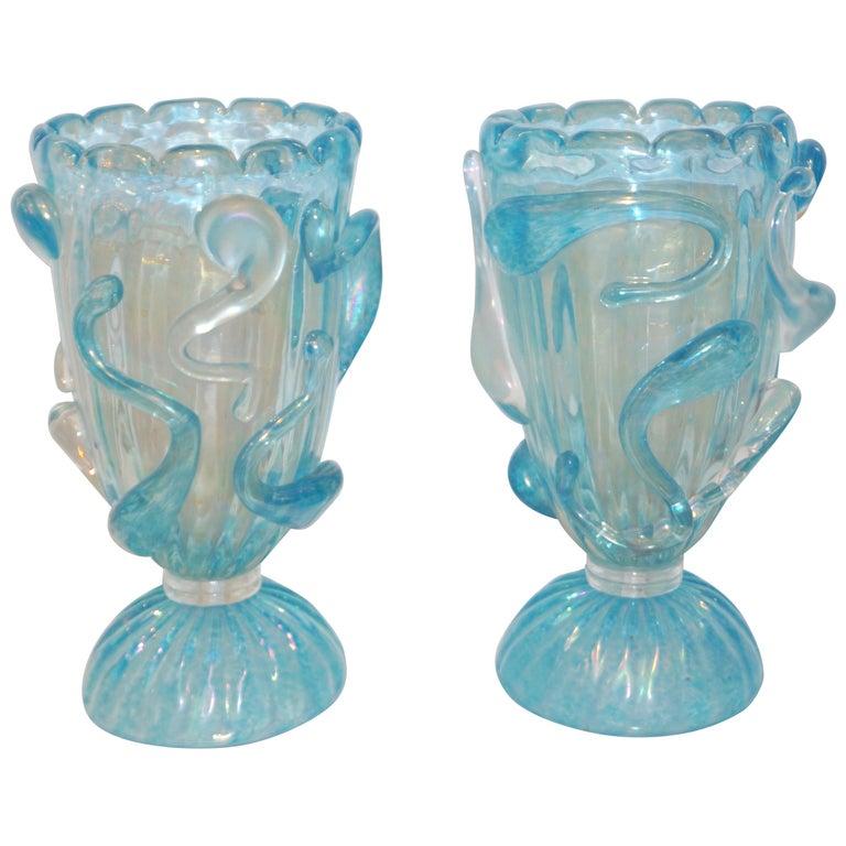1970 Italian Modern Pair of Vintage Aquamarine Sea Blue Murano Glass Table Lamps