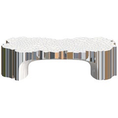 Voronoi Rectangular Coffee Table by Michael Young Stainless Steel and Enamel