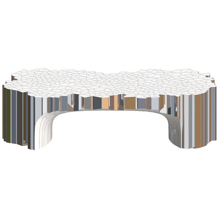 Rectangular Coffee Table (MY Collection) by Michael Young Stainless Steel Enamel For Sale