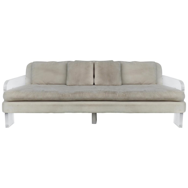 Large Ultrasuede Sofa With Lucite Arms And Support For