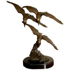 French Bronze Sculpture Art Deco Artist E. Tissot Birds in Flight