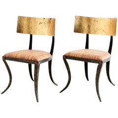 Pair of Gilt Iron and Rattan Klismos Chairs