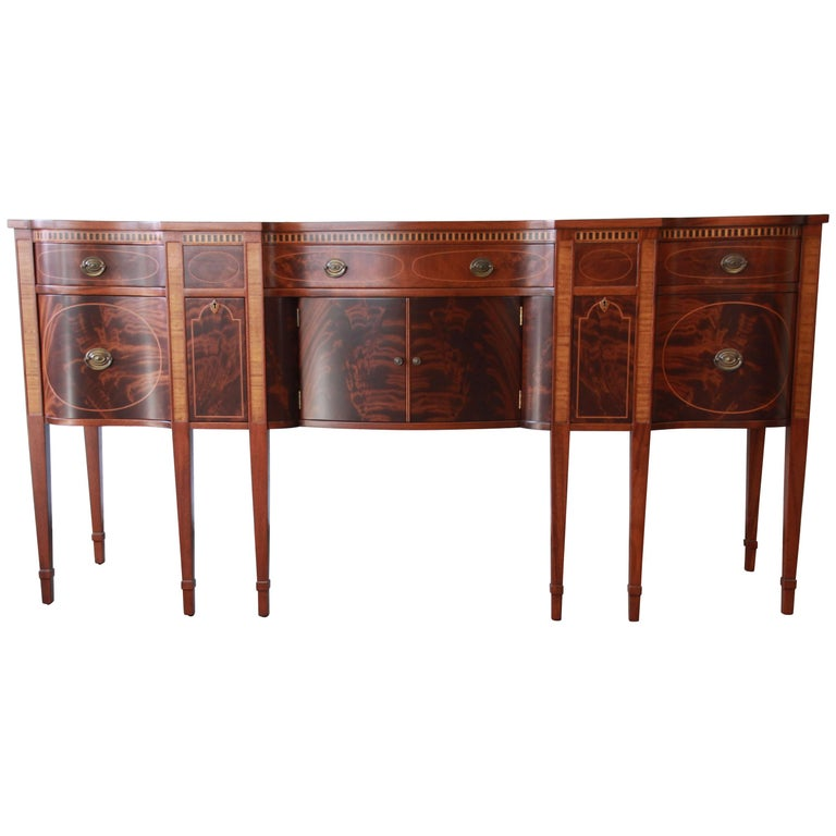 Romweber Antique Inlaid Flame Mahogany Sideboard Buffet
