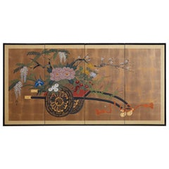 Japanese Four Panel Screen Gold Leaf Flower Cart