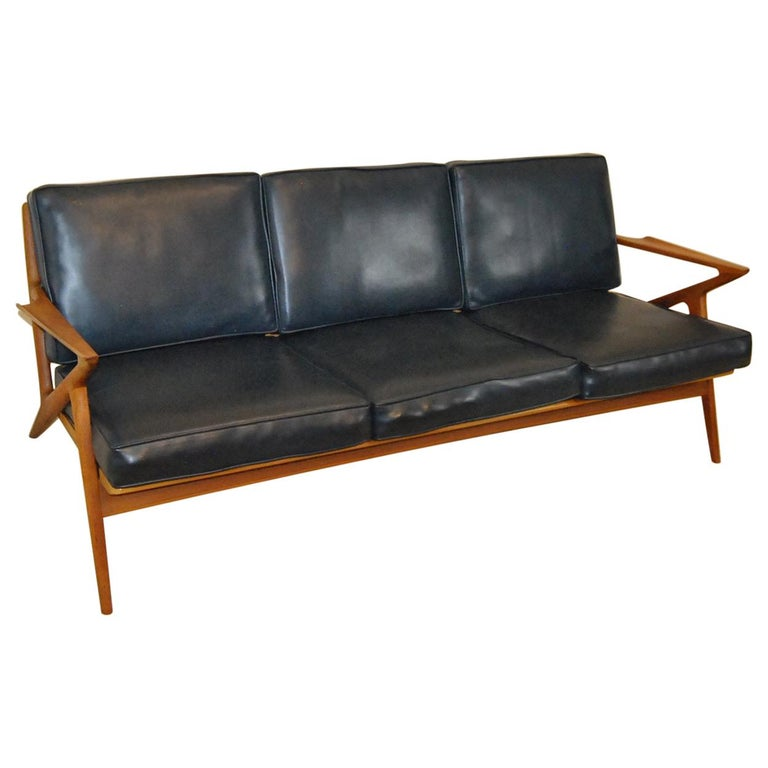 Danish Mid Century Modern Teak Three Cushion Z Sofa By Poul Jensen For Selig