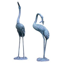 Pair of Bronze Crane Fountains