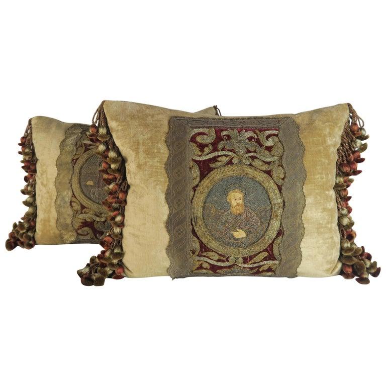 18th Century Italian Metallic Embroidered Velvet Pillows, Pair