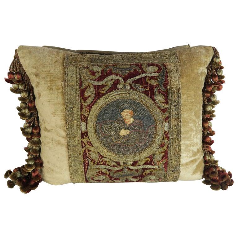 Pair of 18th Century Metallic Embroidered Velvet Pillows