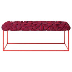 "Contemporary Handwoven Bench the ""Cloud"" in Red"