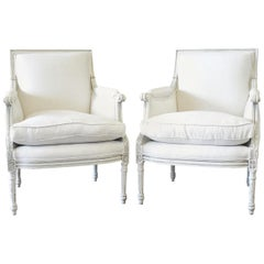 20th Century Louis XVI Style Painted Bergère Chairs in Natural Linen