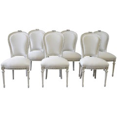20th Century Louis XVI Style Painted Dining Chairs with Linen Upholstery