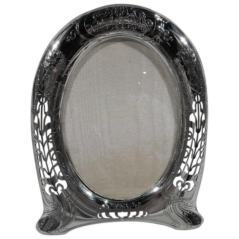 Antique Tiffany Art Nouveau Pierced Sterling Silver Picture Frame