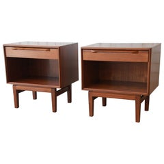 Ib Kofod-Larsen for Fredericia Danish Modern Teak Nightstands, Pair