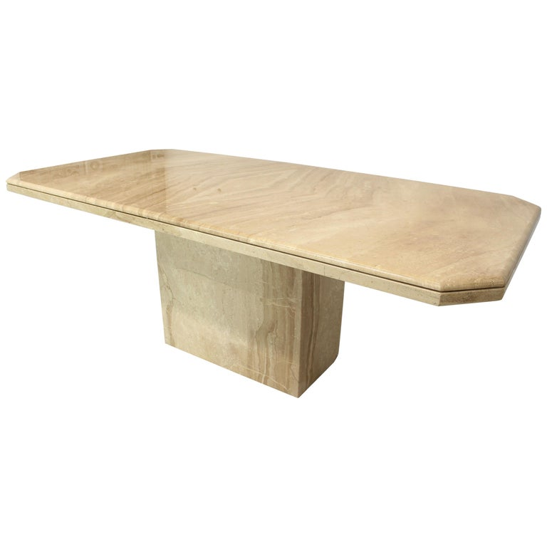 Rectangular Single Marble Pedestal And Top Dining Conference Table - Pedestal conference table
