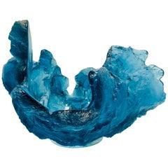 """Blue Frozen Water"" Art Glass Sculpture Bowl Vase by Amanda Brisbane 'Deceased'"