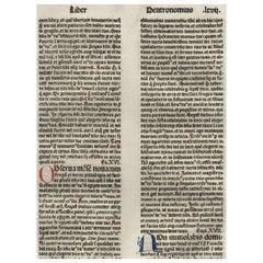 """My Words"" Deuteronomy 15-18, 1479 Large Latin Bible Leaf Medieval Incunabula"