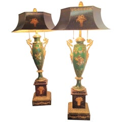 Pair of Painted Antique Louis XVI Style Tole Parfums Later Mounted as Lamps