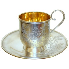 Antique Russian .875 Silver Hand Engraved Cup and Saucer, Baladanova, Moscow