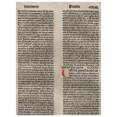 """A New Covenant"" Jeremiah 31-32, 1479 Large Latin Bible Leaf Medieval Incunabula"