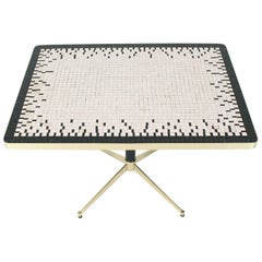 Machined Solid Brass X-Shape Base Mosaic Top Cafe Table