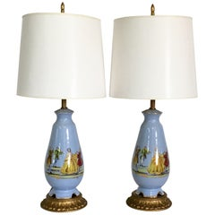 Midcentury Pair of French Blue and Gilt Porcelain Decalcomania Lamps