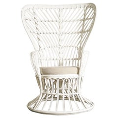 Pair of White 1950s wicker Chairs by Gio Ponti