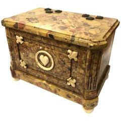 An Antique Florentine Peche d'Alap Marble Casket