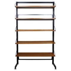 Freestanding Shelving Unit with Walnut Shelves, Germany, 1960s