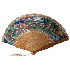 Early Chinese Mandarin Hand Held Fan, Qing Dynasty, circa 1835