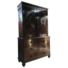 Antique Anglo Indian Linen Press Rosewood Sunburst British Colonial Victorian
