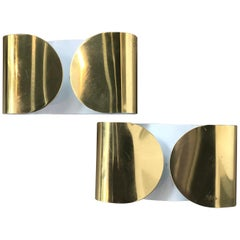 """Wall Sconces """"Foglio"""" by Tobia Scarpa for Flos, """"Polished Brass Finish"""", 1966"""