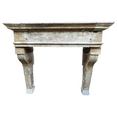 18th Century Louis XIII French Limestone Fireplace with Original Patina