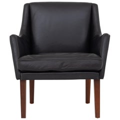 Easy Chair in Black Leather by Tove & Edvard Kindt-Larsen