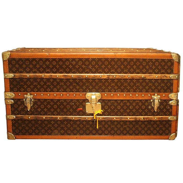 1930s Louis Vuitton Monogram Canvas and Brass Fittings Wardrobe Steamer Trunk
