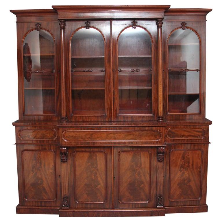 Early 19th Century Flame Mahogany Breakfront Bookcase