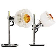 Pair of Italian 1970s Murano Glass Table Lamps A. V. Mazzega