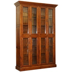 Large Edwardian Panelled Mahogany Bookcase Cabinet Four Lockable Cupboard Doors