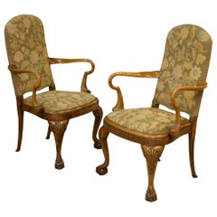 Pair of Queen Anne Style Walnut Open Armchairs