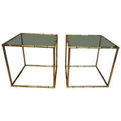 Pair of French 1970s Bronze Faux Bamboo End Tables