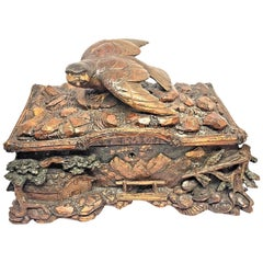 Antique Black Forest Folk Art Box Landscape and Bird Wood Carved, 1890s