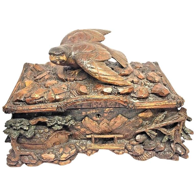 Antique Black Forest Folk Art Box Landscape and Bird Wood Carved, 1890s