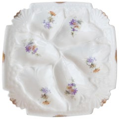 Square Porcelain Oyster Plate, circa 1900