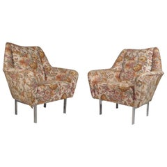 Pair of Mid-Century Modern Italian Lounge Chairs with Chrome Legs