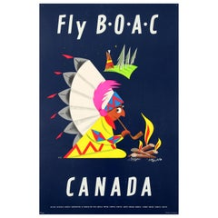 Original Vintage Fly BOAC Canada Travel Poster In Association Qantas SAA TEAL