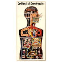 Original Vintage Graphic Poster Der Mensch Als Industriepalast Ft Industrial Man