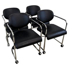 Four Design Institute America Chrome and Black Leather Chairs Swivel Casters