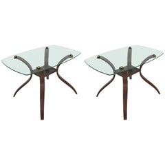 Mid-Century Modern Floating Glass, Brass and Bentwood Side Tables, Pair