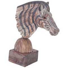 Carved Wood Zebra Head
